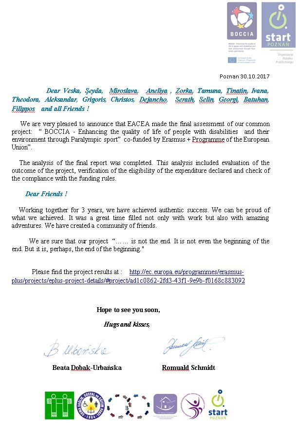Final letter to all Participants 3 - Polska Boccia