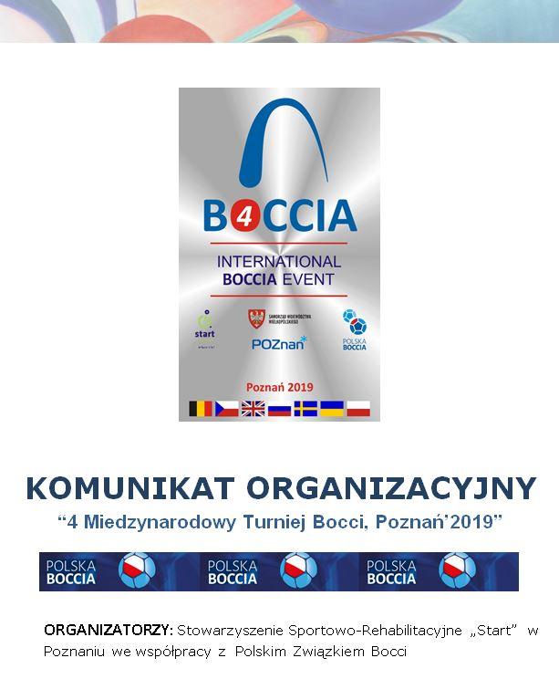 Publikujemy Komunikat Organizacyjny - 4 Międzynarodowy Turniej Bocci, Poznań 2019 1 - Polska Boccia